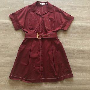 Diane Von Furstenberg ox blood red shirt dress